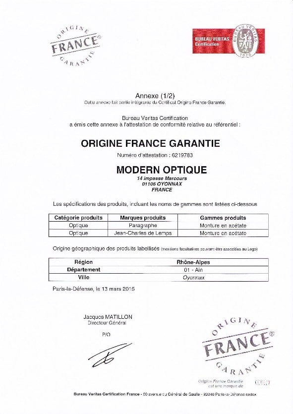 Modern Optique - Certificat Origine France (Annexe 1)