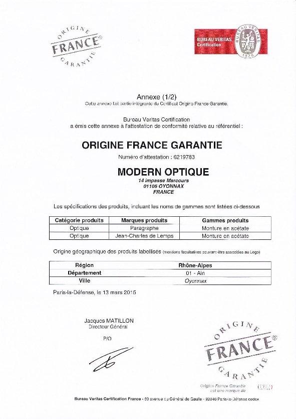 Modern Optique - Certificat Origine France (Annexe 1)