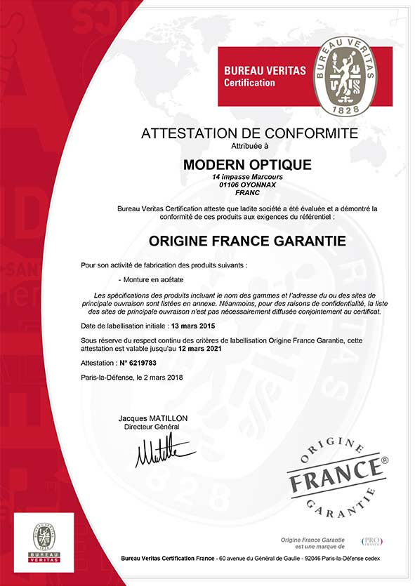 Modern Optique - Certificat Origine France